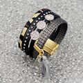 The New Fashion Never out of season Top Grade Leather Inlay zircon Multilayer Wide Bangles For Women