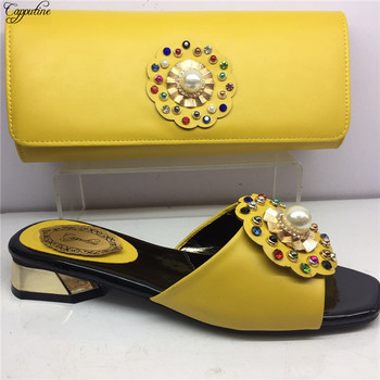 Excellent African medium heel party shoes and handbag fashion sandals and purse bag set with pearls GY31 heel height 4cm