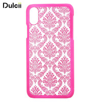 Dulcii IX Damask Flower Rubberized PC Cellphone Case for iPhone X