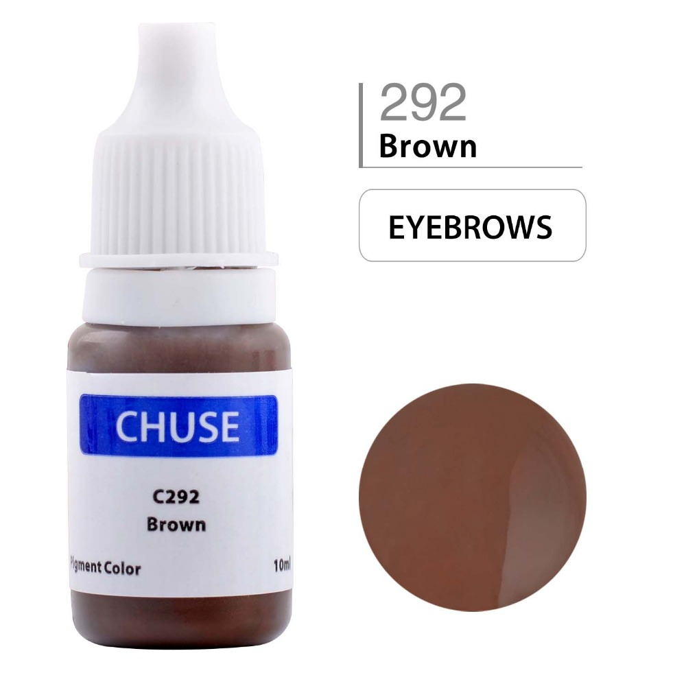 CHUSE Tattoo Ink Set Permanent Makeup Eyeliner Eyebrow Microblading Pigment Professional Micro Paint 10ML Brown C292 35000r import permanent makeup machine best tattoo makeup eyebrow lips machine pen