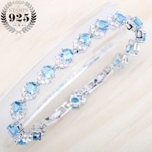 Charming Bracelet Light Blue Cubic Zircon White Stones Silver 925 Jewelry 18+2CM Bracelet For Women Free Jewelry Box