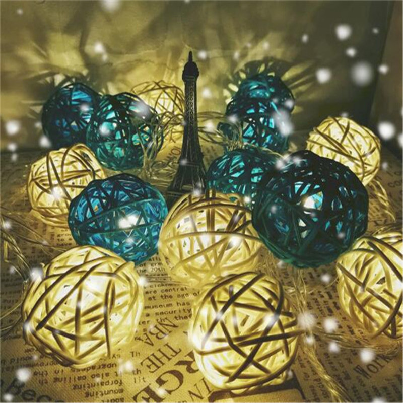 20 Globes LED Christmas White Blue Rattan Ball Light  4M String Lights For Banquet Home And Trees Holliday Decorations
