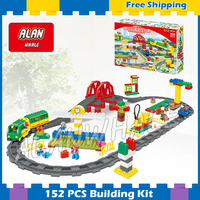 152pcs ville Deluxe Train Set High speed Rail Model Big Size Building Blocks Bricks Gifts Sets Toys Compatible With Lego Duplo