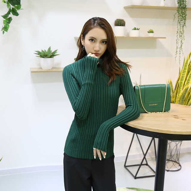 2016 Autumn Winter Slim Thin turtleneck sweater high elastic Solid ...