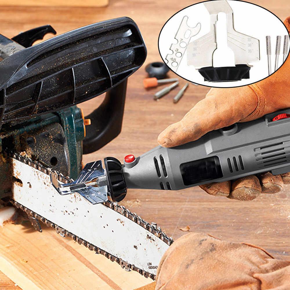 CHAIN SAW Sharpening เครื่องมือสิ่งที่แนบมาโรตารี่เจาะมือ Sharpener อะแดปเตอร์งานไม้เครื่องมืออุปกรณ์เสริม # W