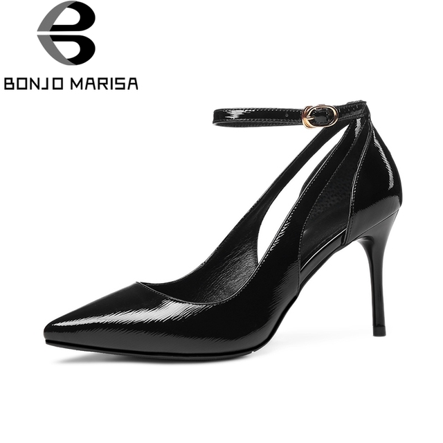 8dc23d7bc61a1 BONJOMARISA 2018 verano Sexy punta mujeres Toe bombas superficial de cuero  genuino transpirable zapatos de tacón