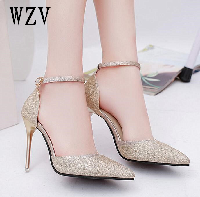 2018 spring heel High Heels Sandals lady Pumps classics slip on Shoes sexy Women party shoes gold silver Wedding Slingbacks 10cm 2018 spring heel high heels sandals lady pumps classics slip on shoes sexy women party wedding pointed toe high heels shoes
