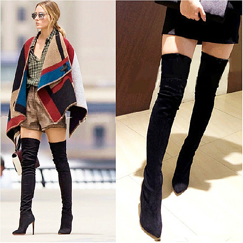 Spring Autumn High Quality Women thin heel pointed toe over knee ...