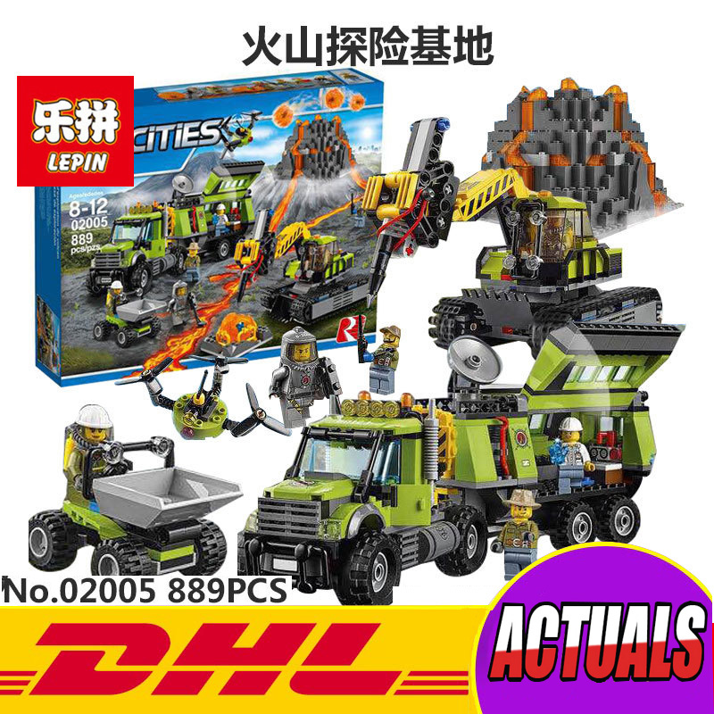Lepin 02005 889Pcs City Series The Volcano Exploration Base Set Children Educational Building Blocks Bricks Boy Toys Model 60124 lepin 02005 volcano exploration base building bricks toys for children game model car gift compatible with decool 60124