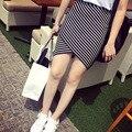 Лето и осень новый полосатый юбка крест эластичный тонкий тонкий пакет бедра юбка слово юбка