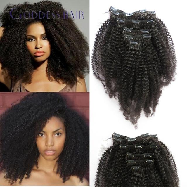 4C rizado rizado brasileño Clip en la extensión del pelo humano 7 unids / 100 g cabeza llena afroamericano Clip en la extensión del pelo humano Clip ins