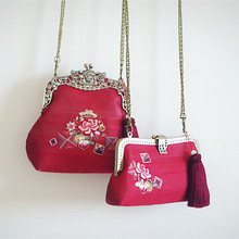 Angelatracy 2019 Handmade New Arrival Red Embroidery Floral Traditional Silk Vintage Metal Frame Shoulder Bag Crossbody Bags