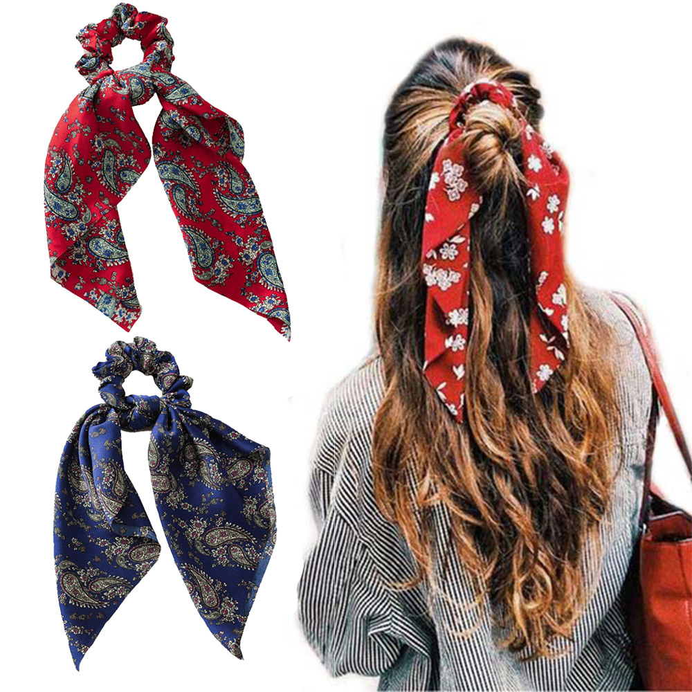Women Hair Scarf Bowknot Scrunchies Ponytail Holder Summer Elastic Hairband Bow Hair Rubber Ropes Girls Hair Ties Accessories