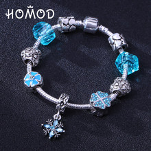 HOMOD Antique Blue Crystal Heart Bead Pandora Bracelet Ocean Charm Bracelets    Bangles Fashion Jewelry Gift Pulseras 57b69f83c124
