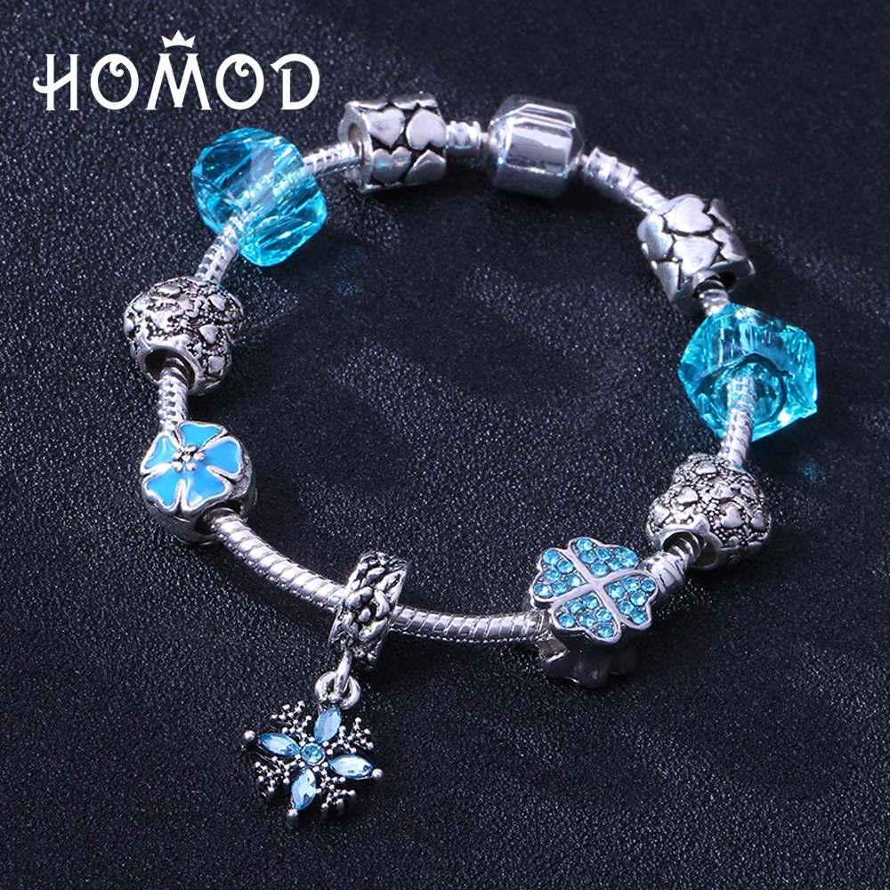 HOMOD Antique Blue Crystal Heart Bead Pandora Bracelet Ocean Charm Bracelets & Bangles Fashion Jewelry Gift Pulseras