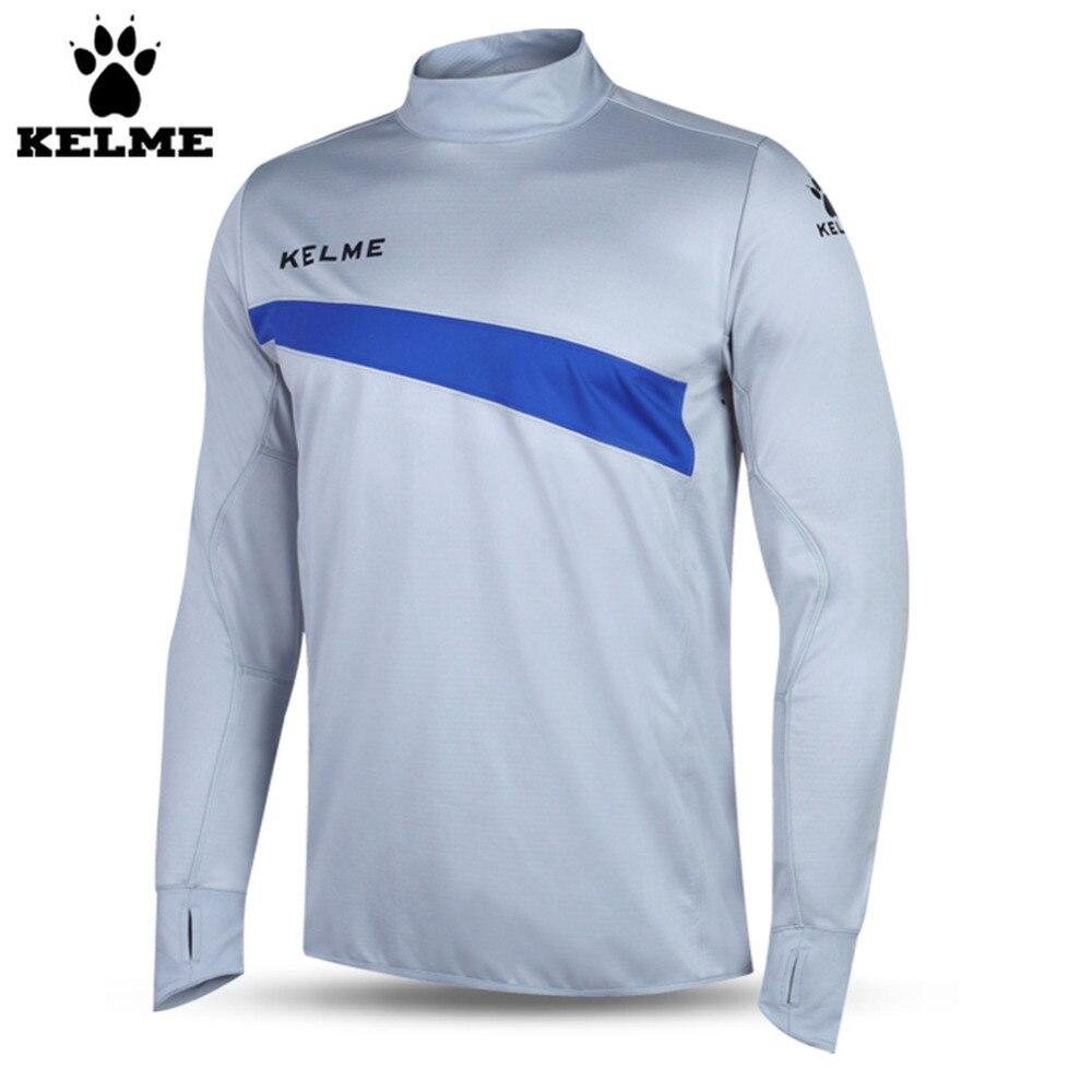 Kelme K15Z304 Men Soccer Jerseys Polyester Stand Collar Sharkskin Training Long-sleeved Pullover Grey Dark Blue цена 2017