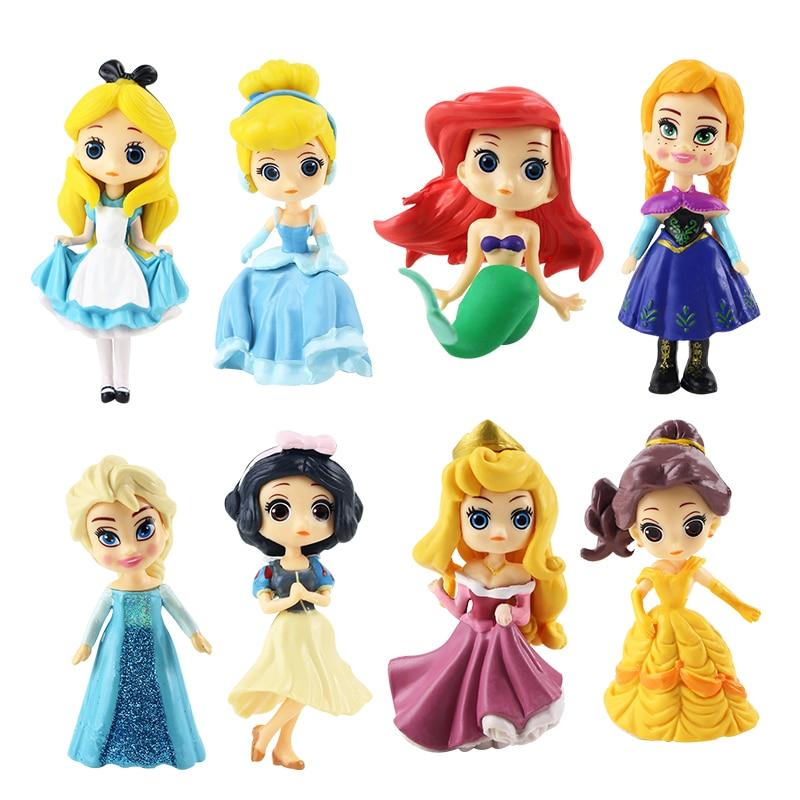 8 pçs/lote q versão da disney figura de princesa brinquedos, cinderela, branca de neve, belle, estatueta, figura de ação, pvc, coleção, modelo, brinquedos