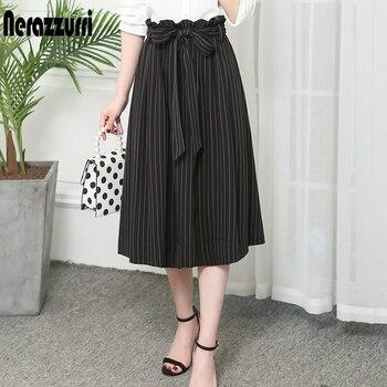 Nerazzurri Black and white striped pleated midi skirt plus size summer Elegant high waist high quality office skirt for women abstract striped pleated skirt