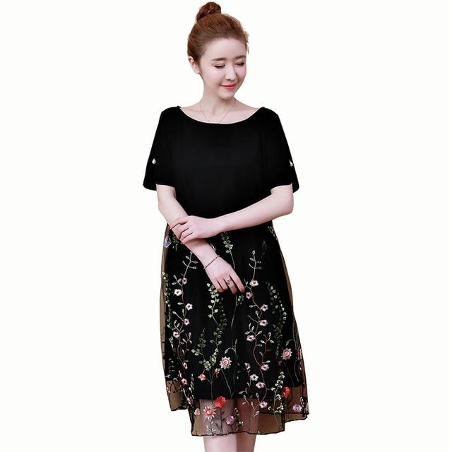 Plus Size 2018 New Summer Women Dress Mesh Coverlly Embroider Little