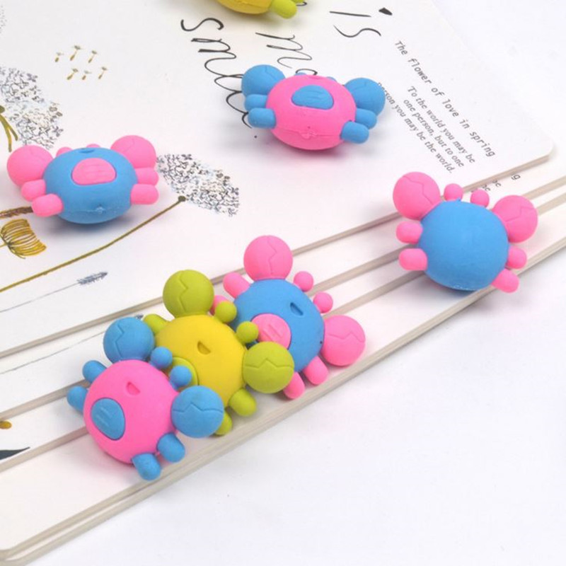 Coloffice 4PCS/Lot Creative Cute Colorful Crab Eraser Rubber Children Kawaii Office School Learning Cartoon Gift Stationery