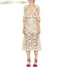 Luoanyfash off the shoulder perspective wrap ruffles midi dress Women strap split beach summer dress pink dress