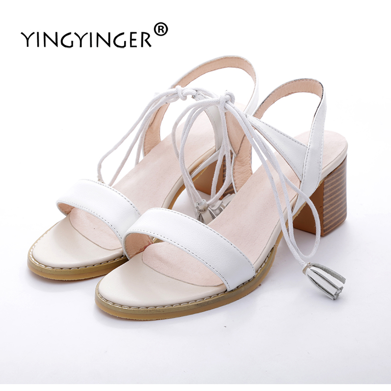 Sandals Women Genuine Leather Lace Up White Summer Shoes Woman Sandal High Heels Wedding Shoes Sandalias Mujer Sandale Femme effiel tower pattern ultra thin protective soft tpu back case for iphone 5 5s brown black