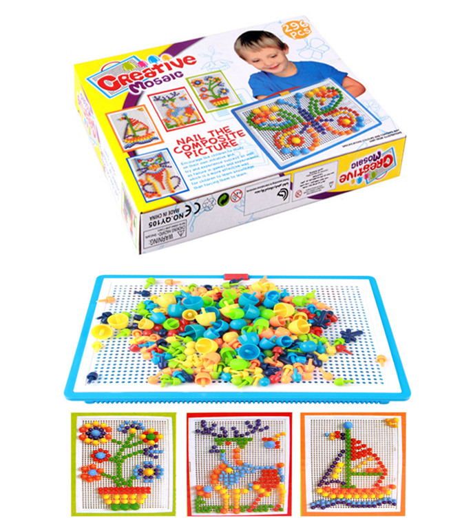 60set/lot Mushroom Nails Jigsaw Puzzle Game Creative Mosaic Pegboard Educational Toys Basket+Pegboard+296pcs Nails Sets Baby Toy
