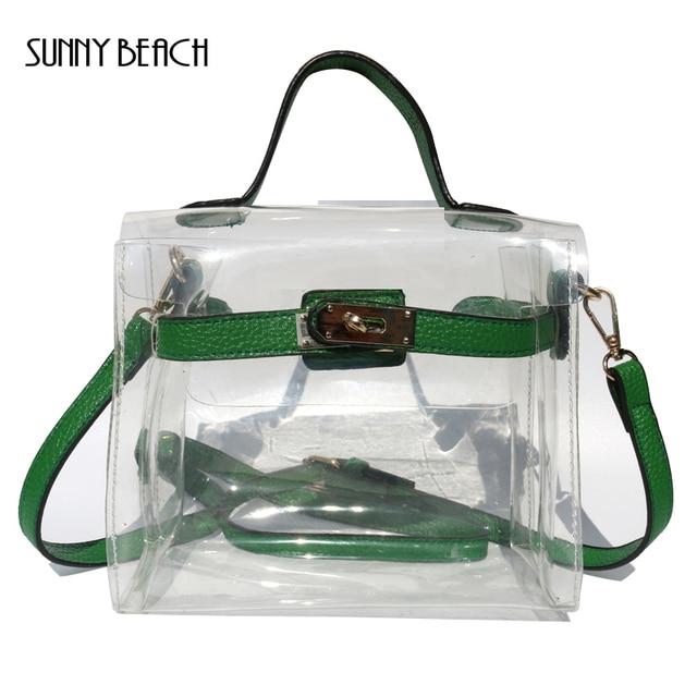 Sunny Beach Fun Summer Bag Clear Women Handbag Small Flap Transpa Pvc Plastic Christmas