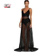 Fitaylor 2017 Summer Women Sexy Black Lace Backless Maxi Dress Club See Through Dress Spaghetti Strap