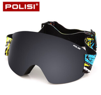 POLISI Professional Ski Goggles Double Layer Lens Anti Fog UV Protection Skiing Eyewear Winter Snowboard Snow Glasses