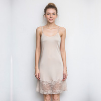 Knitted silk spaghetti strap lace full slip thin plus size slim underskirt female nightgown