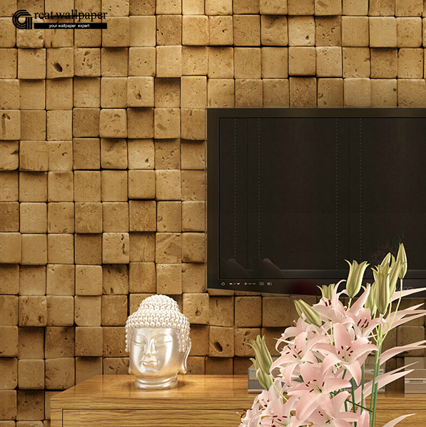 ФОТО New Chinese retro culture brick patterned 3D wallpaper roll, shop with bar and restaurant aisle full living room backdrop