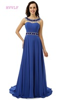 Backless Evening Dresses 2017 A Line Scoop Chiffon Beaded Crytals Royal Blue Women Long Evening Gown