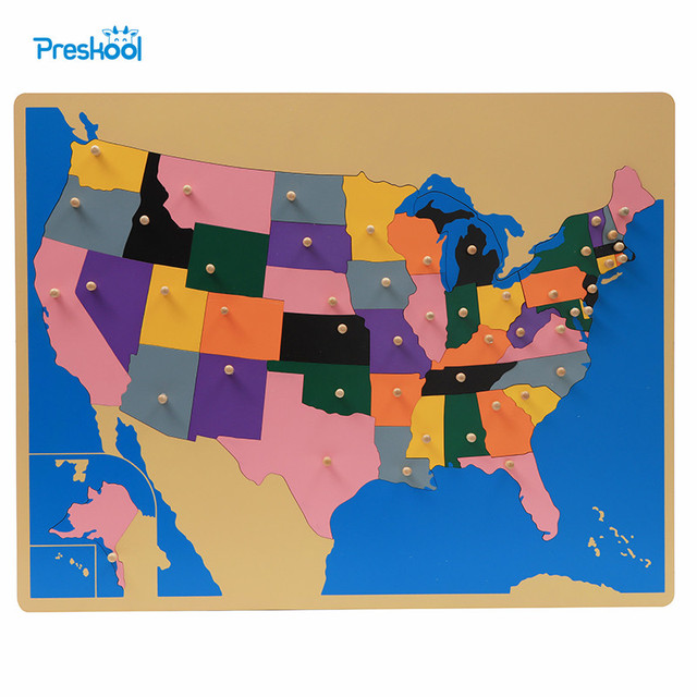 Baby Toy Montessori Puzzle America United States Map Learning - Map-of-us-puzzle