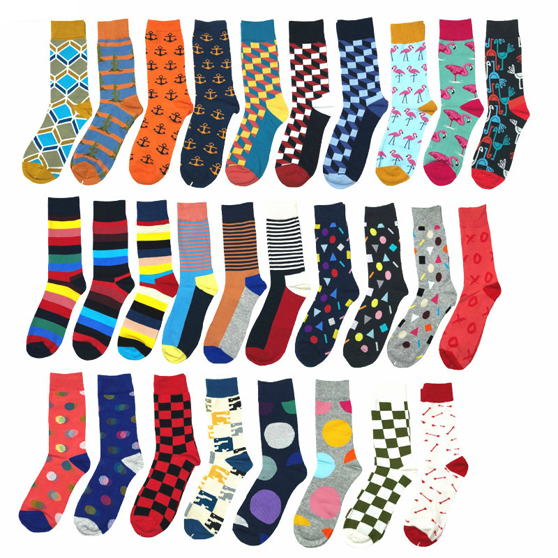 PEONFLY Men Fashion Happy Socks 28 Colors Striped Plaid Diamond Cactus funny Sock male high Quality casual colorful Cotton Socks