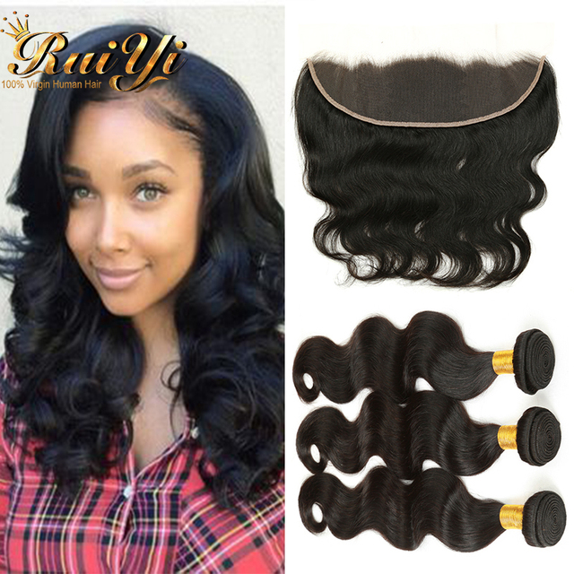 13*4 Lace Frontal Closure With Bundles 7A Peruvian Virgin Hair Body Wave Unprocessed Human Hair 3 Bundles With Lace Closure