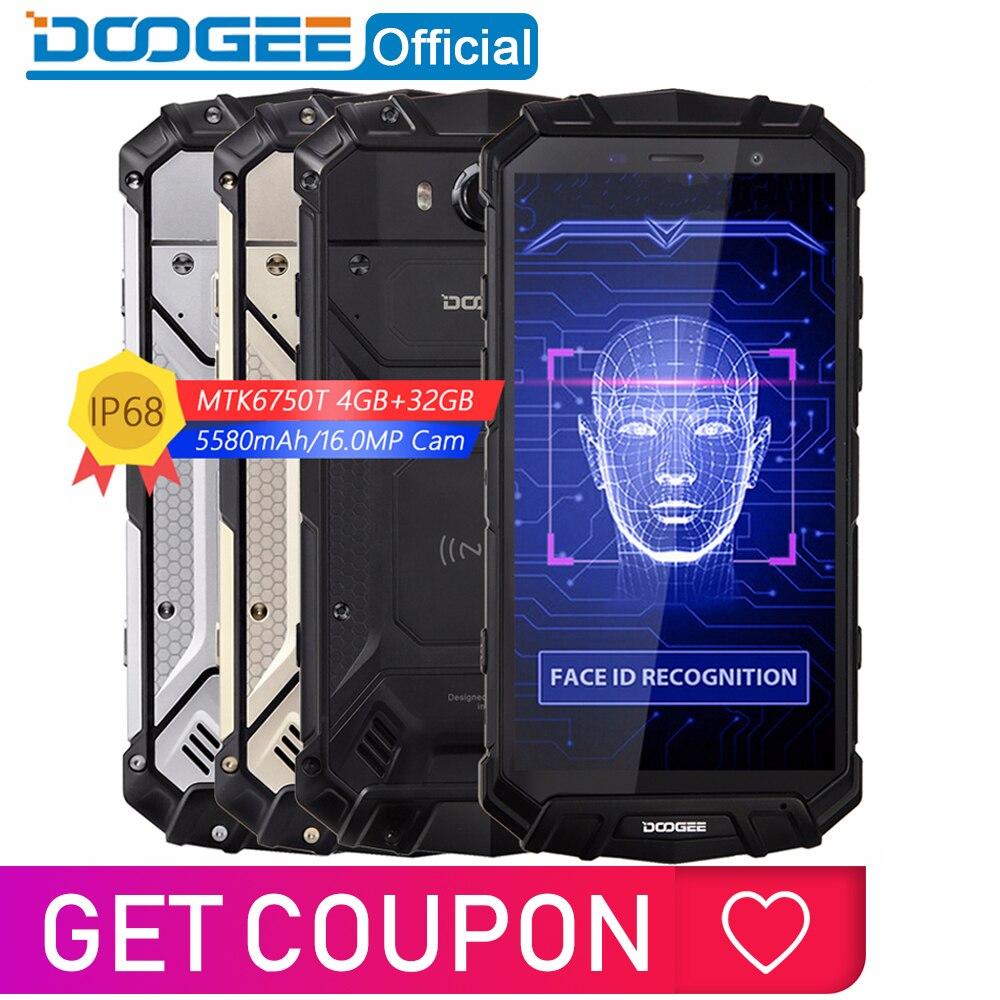IP68 Água DOOGEE S60 Lite 5580mAh Carga Sem Fio MT6750T 12V2A Quick Charge 5.2 ''FHD Octa Núcleo 4GB 32GB Smartphones 16.0MP Cam