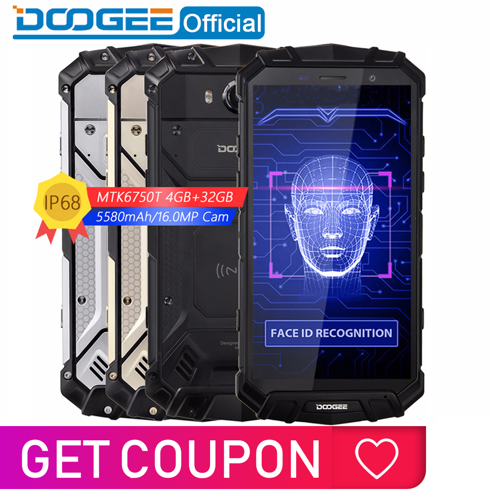 Ip68 água doogee s60 lite carga sem fio 5580 mah 12v2a carga rápida 5.2 core core fhd mt6750t octa núcleo 4 gb 32 gb smartphone 16.0mp cam