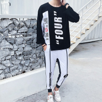 Loldeal Men s 2 Pieces Crewneck Patterned Luxury Sportswear Tracksuit Casual Hip Hop Letter Printed T shirt+Shorts Tracksuit Set
