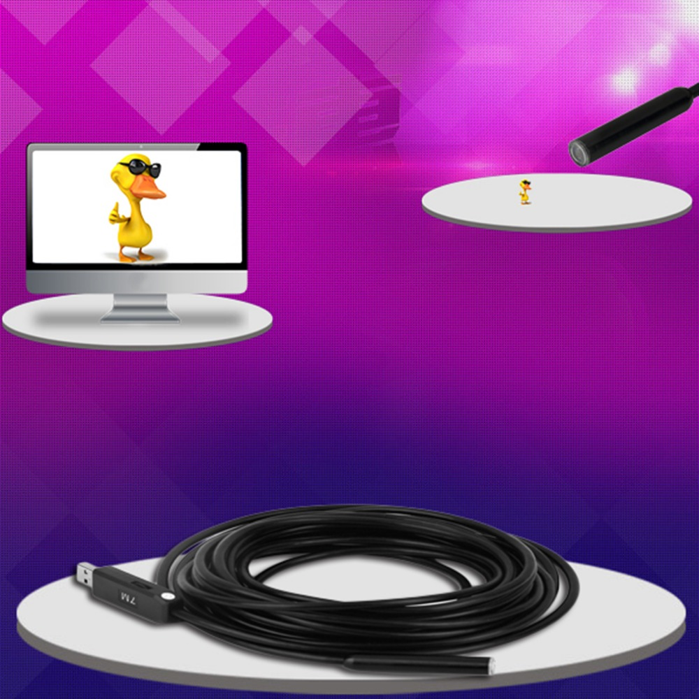 USB Endoscope Lens 10mm Mini Camera 7m Length Cmos Waterproof IP67 PC Borescope Inspection Snake Video Cam Night Vision Windows
