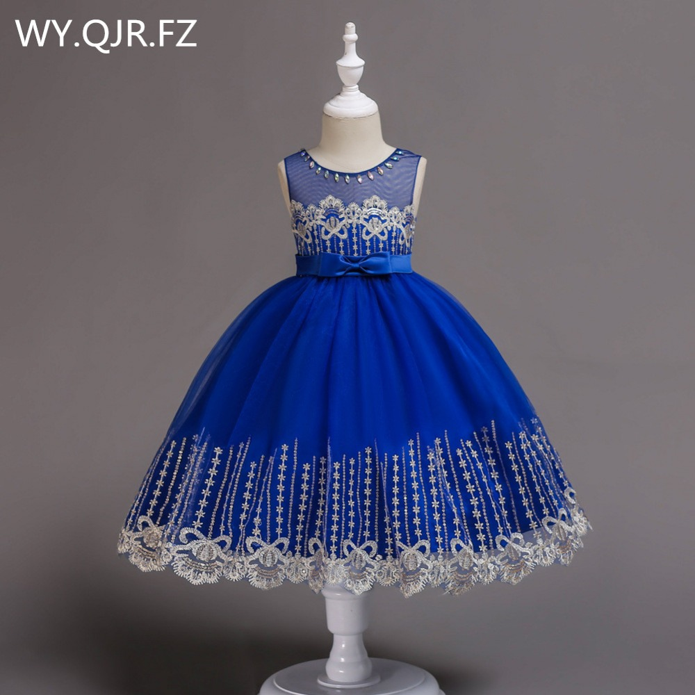 BH598L#  Flower     Girl     Dresses   Children's wear 2018 autumn winter new lace sequins embroidered Blue Yarn   girl's   princess   dress   short