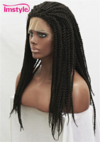 Imstyle Braid Wig Synthetic Black 22 inch Lace Front Wig for Women Cosplay Wig Heat Resistant Fiber