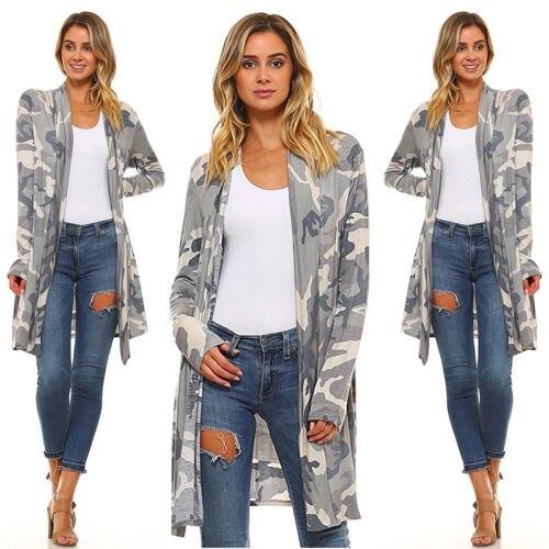 Women's Clothing Fall Womens Casual Cardigan Loose Camo Long Sleeve Blouse Shirt Outwear Jacket Coat Tops Casual