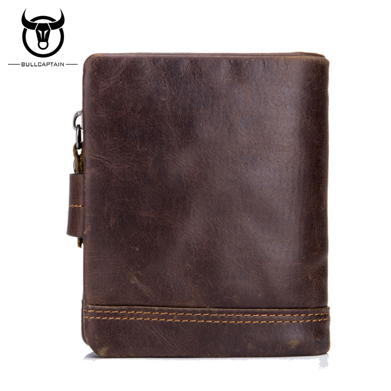 BULLCAPTAIN Genuine Leather Men/'s Wallet Bifold Purses Purse Card ID Holder New