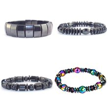 1Pcs Weight Loss Round Black Stone Magnetic Therapy Bracelet Health Care Magnetic Hematite Stretch Bracelets For Men Women 2019(China)