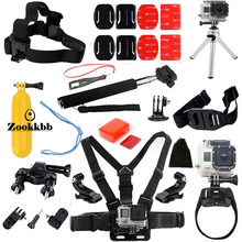 Zookkbb Head Chest strap Bike Handlebar Holder Suction Cup Floating Handle Grip Monopod pole for Gopro Hero 4 3+ 3 2 Accessories