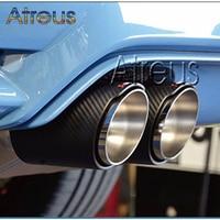 Atreus 2pc For Audi A6 C6 C7 A4 B8 B9 A3 8V A1 A5 Q3 Q5 2017 2018 Auto Accessories Carbon Fiber Akrapovic Tip Car Exhaust Pipes