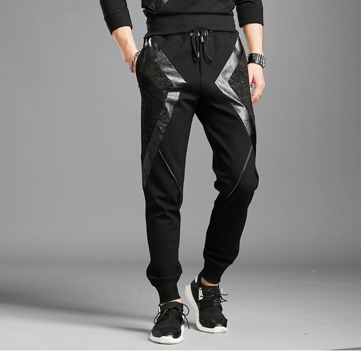 Plus Size PU Faux Leather Slim Pencil Pants Mens Cowboy Style Tight Trousers Jogger Camouflage Military