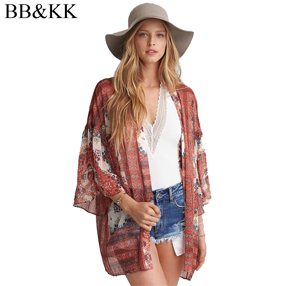 Summer Style Women Vintage Geometric Print Chiffon   Blouse     Shirt   Loose Beach Cover Kimono Cardigan