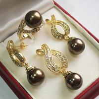 Hot Perfect Match Beautiful Jewelry 18KGP 12mm Brown Shell Pearl Pendant Earring Ring Set